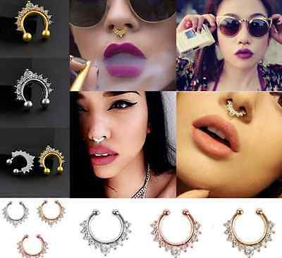 Fake Septum Clicker Nose Ring Non Piercing Hanger Clip On Crystal 2 color one