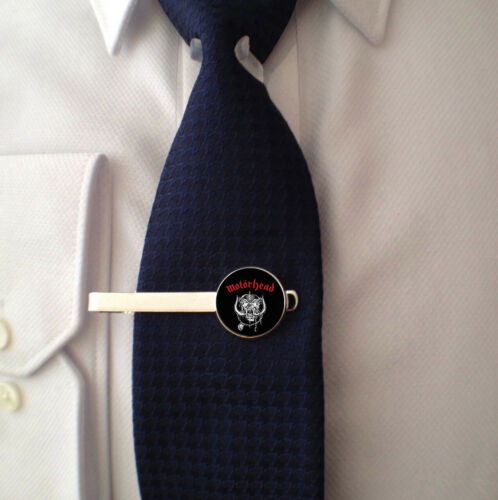 MOTORHEAD MENS GIFT FATHERS DAY BIRTHDAY TIE CLIP BAR 3D GLASS LENS FRONT