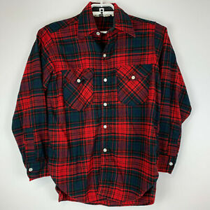 Woolrich-Mens-Medium-Buffalo-Plaid-Wool-Blend-Button-Shirt-Red-Black-Vintage