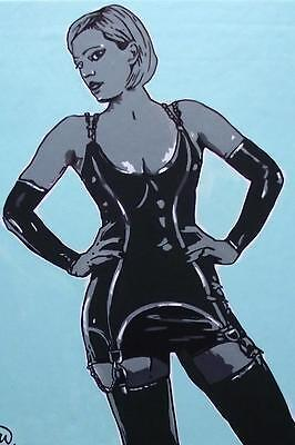 """Nude Pop Art Original Oil Painting by Terry P Wylde  Latex Lovely 16""""X12"""""""