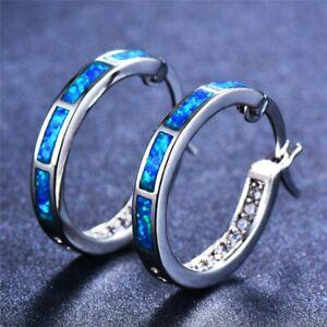 Opal-Creolen-Klapp-Stein-Silber-Farbe-Ohrringe-Damen-Frauen-Ohrschmuck