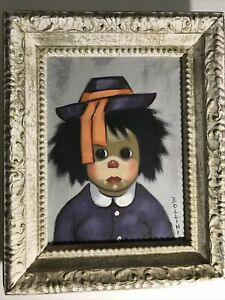 Vtge-BOLLINI-CHILD-CLOWN-OIL-PAINTING-FRAMED-SIGNED-Original-FRAME-15-75-034-X-13-034