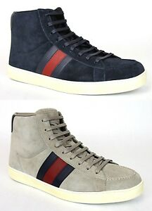 2c8c33a0ca2be8 New Authentic Gucci Mens Suede High-top Sneaker w BRB Leather Web ...