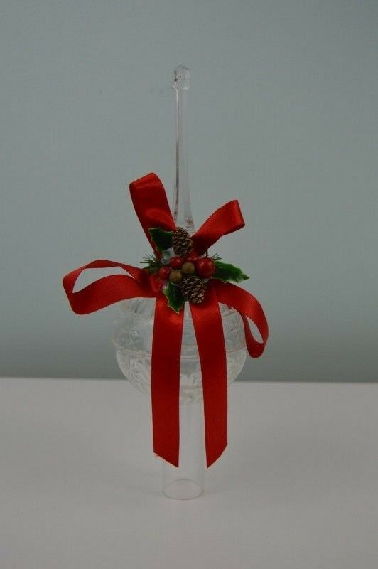 Christmas On Mainstreet Tree Topper Clear Plastic Red Bow Pinecones Vintage
