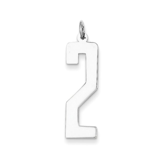 .925 Sterling Silver SS Large Elongated Number 2 Charm Pendant MSRP $23