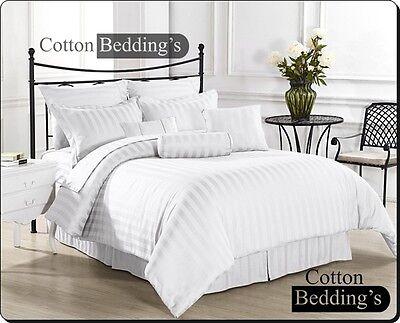 800 TC 100% Egyptian Cotton UK Size Hotel White Duvet Set Pillows Solid Striped