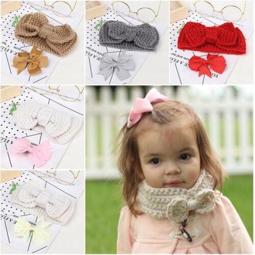 Kinder Bögen Halsbänder Bowknot Haarspange Zubehör Set Baby Knitting Schal HQ