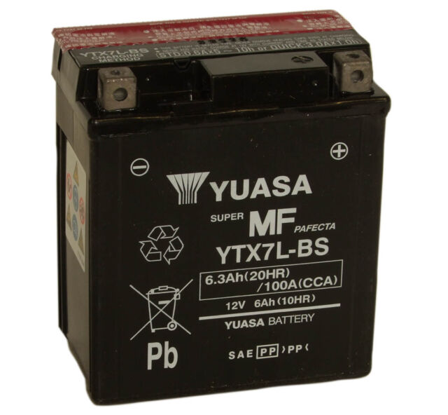 Batterie Yuasa Motorrad YTX7L-BS 12V 6.3AH 100A 114X71X131MM ohne Pflege