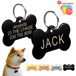 bone dog tags disc engraved pet puppy cat id name collar tags