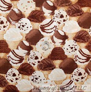 BonEful-Fabric-FQ-Cotton-Quilt-Brown-White-Chocolate-Ice-Cream-Cone-Birthday-Kid