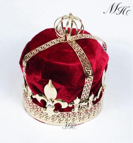 "Men Red Velvet 9/"" Imperial Medieval Tiara Crown Fleur De Lis King Pageant Party"