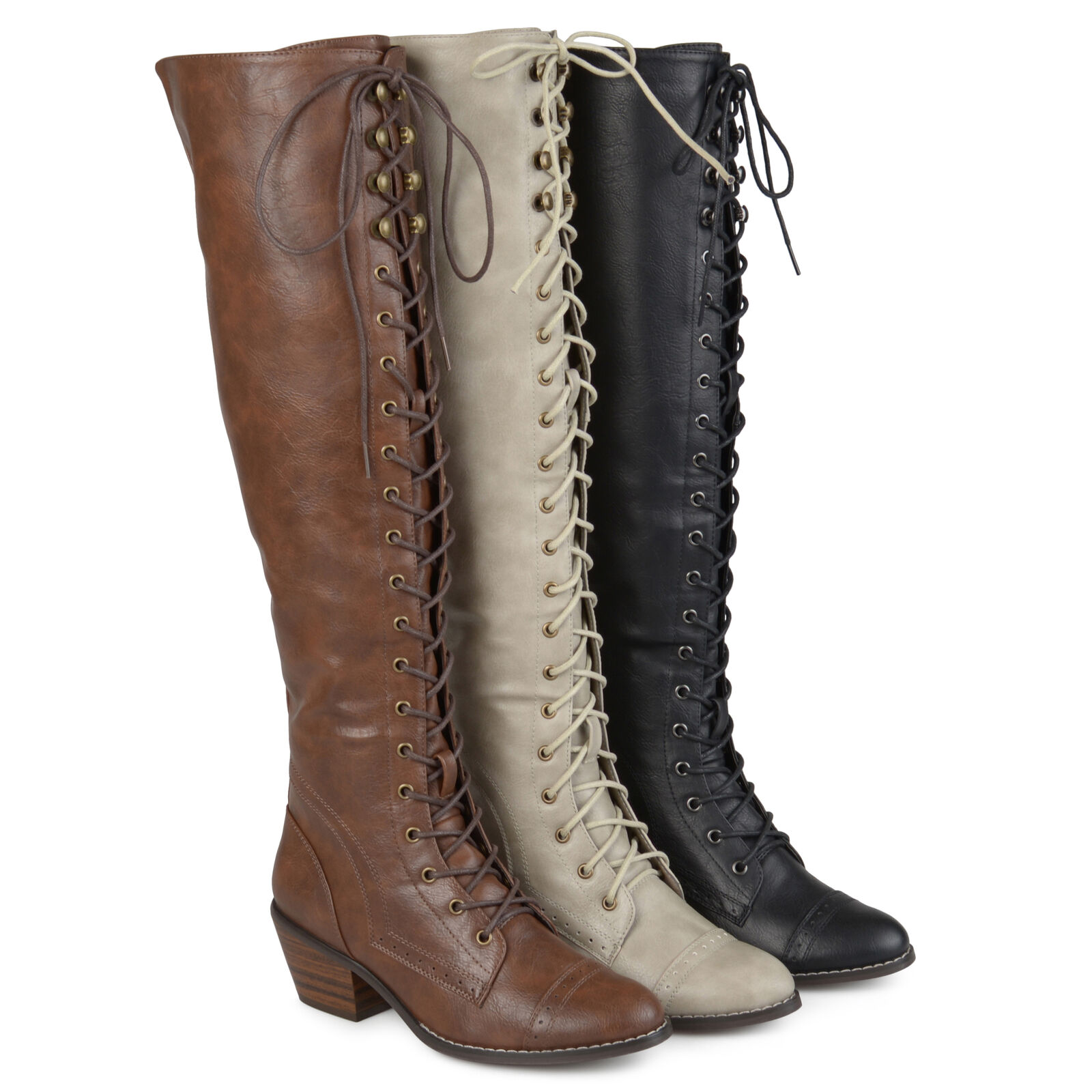 Brinley Co Womens Standard and Wide Calf Over the knee Lace up Brogue Boots New