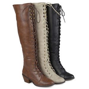 4410b8330a3 Brinley Co Womens Standard and Wide Calf Over the knee Lace up ...