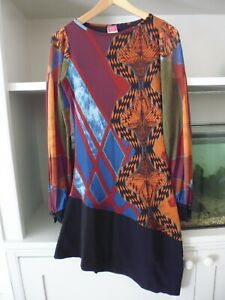 Save-the-Queen-Asymetrical-Kleid-lange-Armel-Schwarz-Orange-Mix-L-BNWT