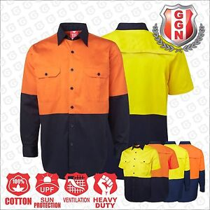 Mens-WORK-SHIRT-HI-VIS-SAFETY-COTTON-DRILL-Air-Vents-UPF-50-AUS-NZ-Standard