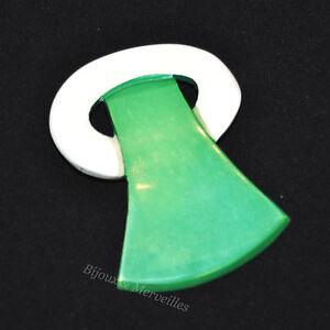 rare-pince-a-cravate-ancienne-vintage-annees-60-vert-blanc-bijoux