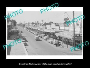 OLD-LARGE-HISTORIC-PHOTO-OF-KYABRAM-VICTORIA-VIEW-OF-THE-MAIN-St-amp-STORES-c1960