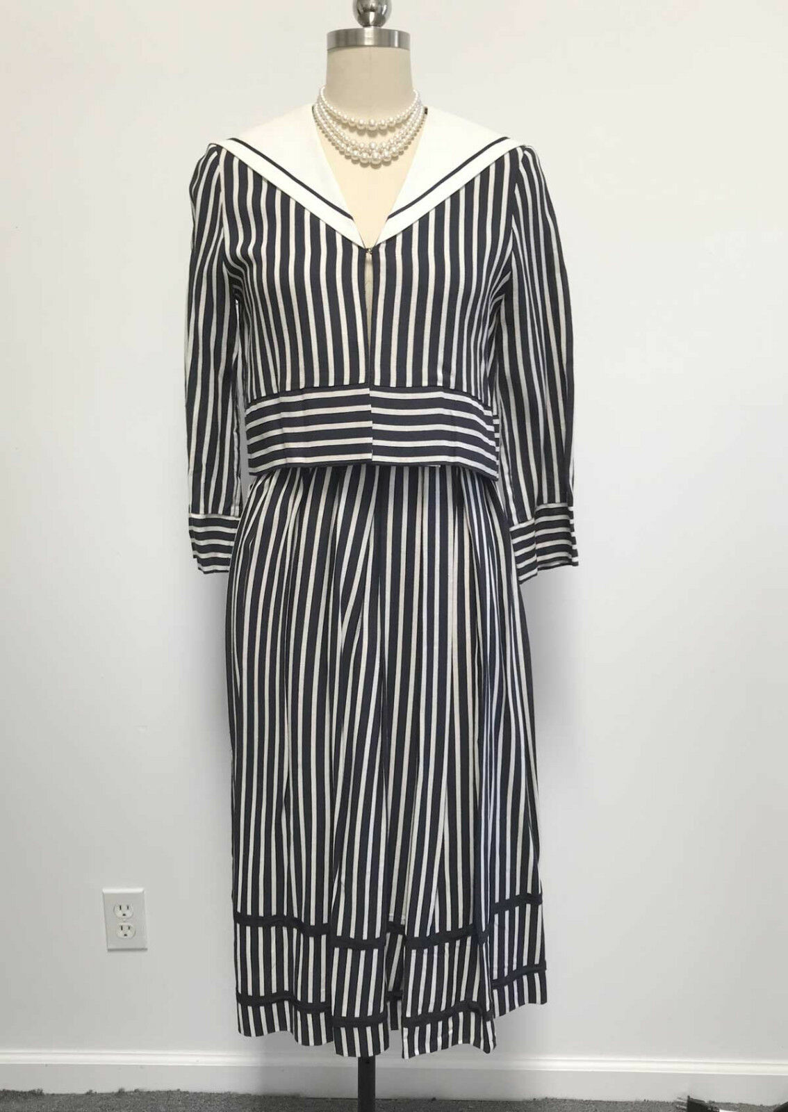 Vtg Spring Sailor Skirt Suit Emanuel Boutique Boutique Boutique London Navy & White Stripes  sz M 3987bd