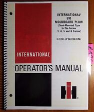 Ih International 510 Moldboard Plow Semi Mounted 3 4 5 6 Furrow Manual 1279