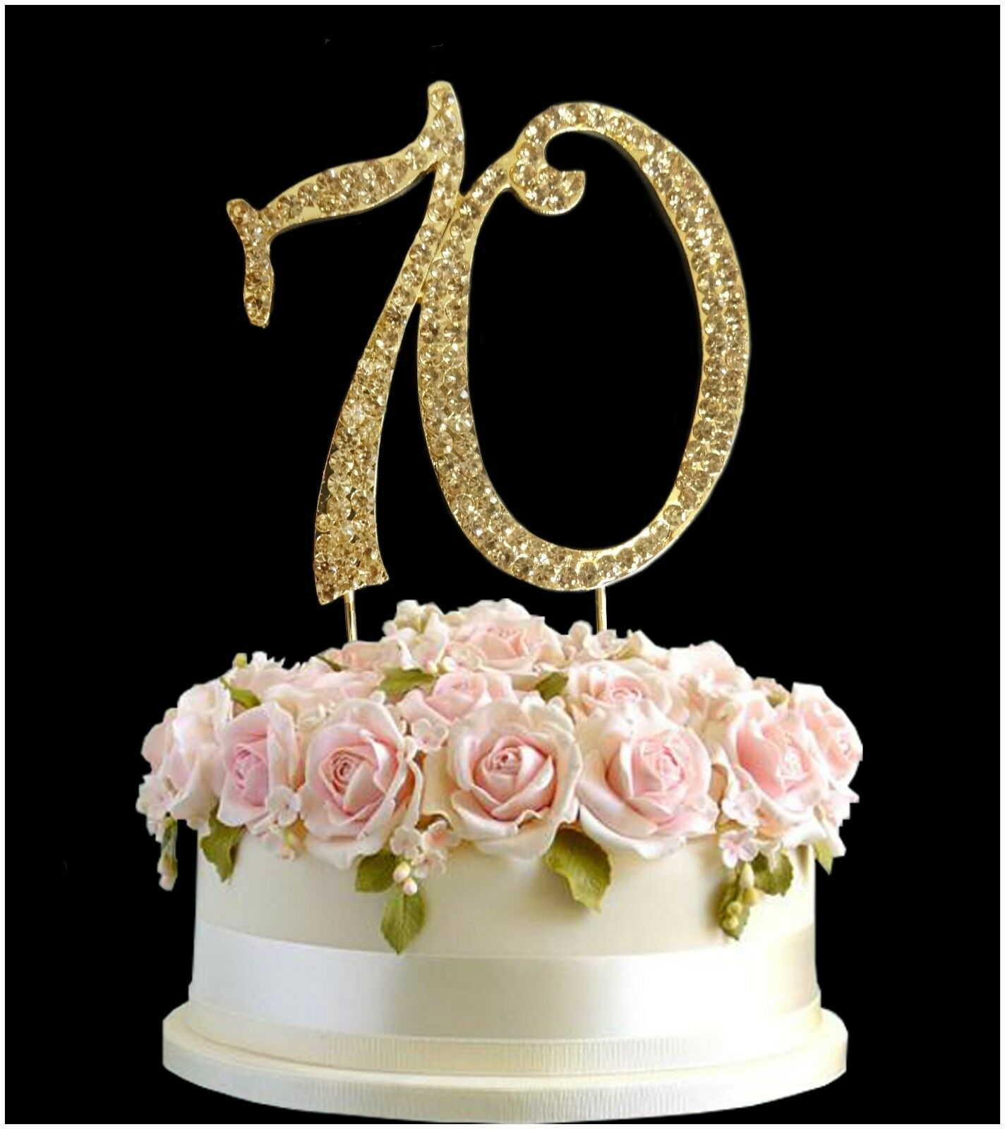 Super 70Th Birthday Cake Diamante Anniversary Gold Number Decoration 70 Funny Birthday Cards Online Fluifree Goldxyz