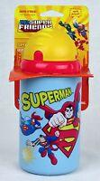 Dc Superfriends 14oz Superman Pop-up Straw Sports Sippy Cup Singles Bnip
