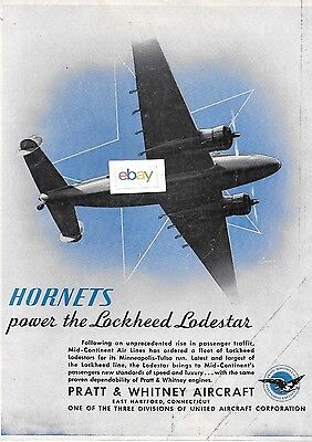 50/'s MID-CONTINENT AIRLINES PHOTO LOCKHEED LOADSTAR TWIN PROP AIRPLANE AVIATION