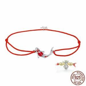 925-Silber-Stern-Freundschaft-Waechter-Glueck-Fisch-Seil-Kette-Armband-Schmuck-NEU