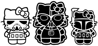 * Star Wars Hello Kitties * Storm Trooper, Darth Vader, Boba Fett Vinyl Decals
