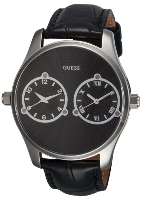 a73ea929e65 GUESS BLACK CROC LEATHER+SILVER TONE MULTIPLE,DUAL TIME TWO ZONE WATCH  U95027G1