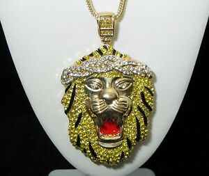 Big sean iced out lion head pendant w 30 36 chain necklace image is loading big sean iced out lion head pendant w aloadofball Image collections