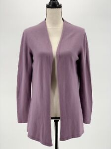William-Lockie-Women-Cardigan-Sweater-Purple-Medium-Open-Front-Cashmere-Scotland
