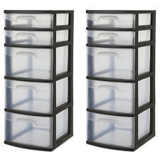 Plastic 5 Drawer Tower 2 x Sterilite Home or Office Storage Black