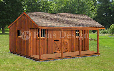 16 X 20 House Or Garden Shed Cabin Building Plans With Material List P51620 Ebay
