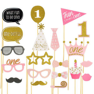 1st Birthday Photo Booth Props Boy Girl First Party Kids Decorations