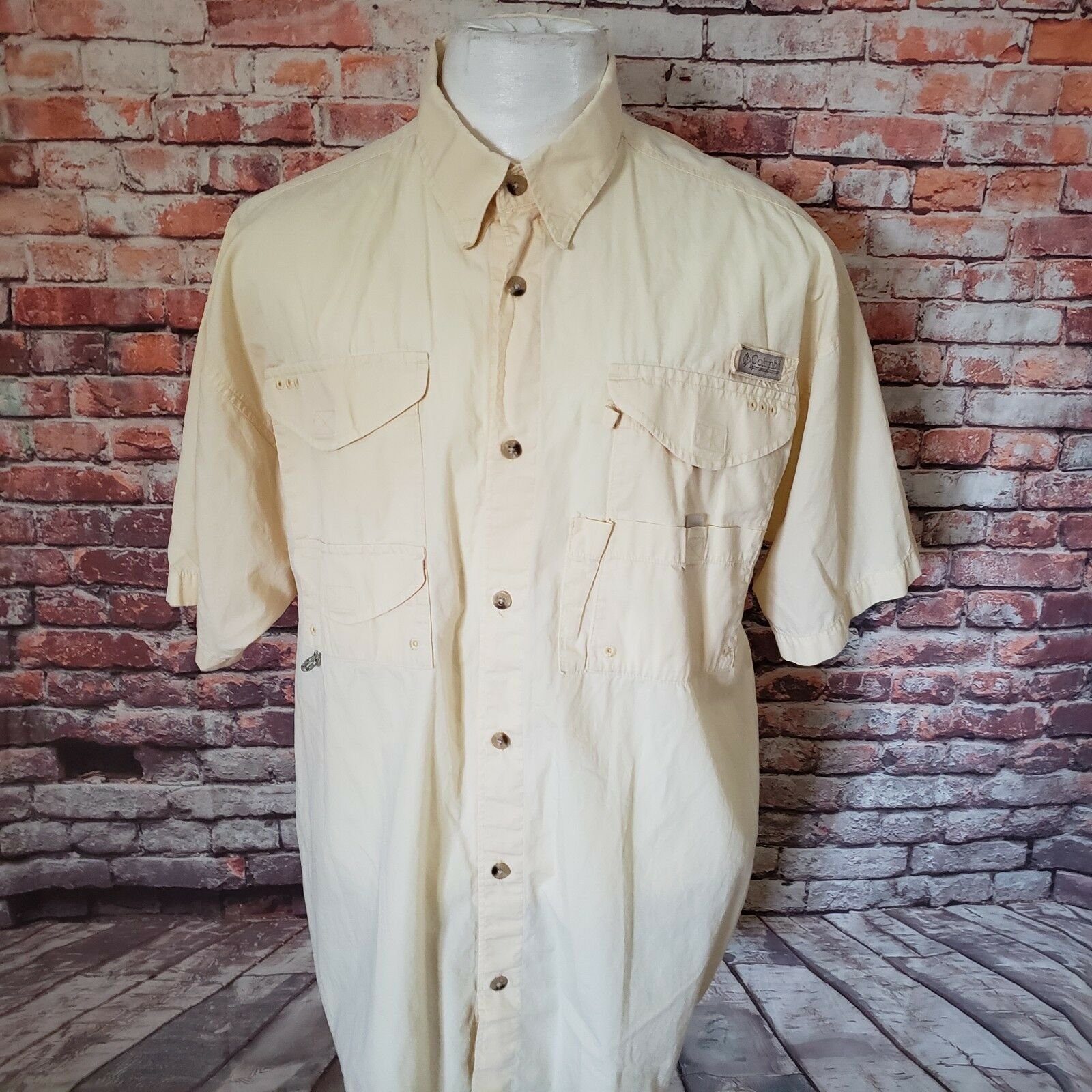 COLUMBIA PFG MEN'S MESH LINED COTTON VENTED SHORT SLEEVE SHIRT SIZE XL A70-22