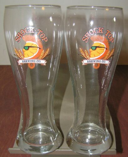 2 Shock Top Beer Glasses Pint 16 oz Pilsner Glass Brewing Co NEW
