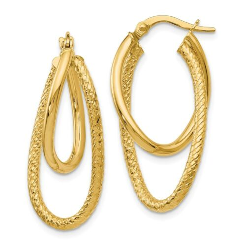 32mm Polished and Textured 14k Yellow Gold Bent Double Hoop Earrings