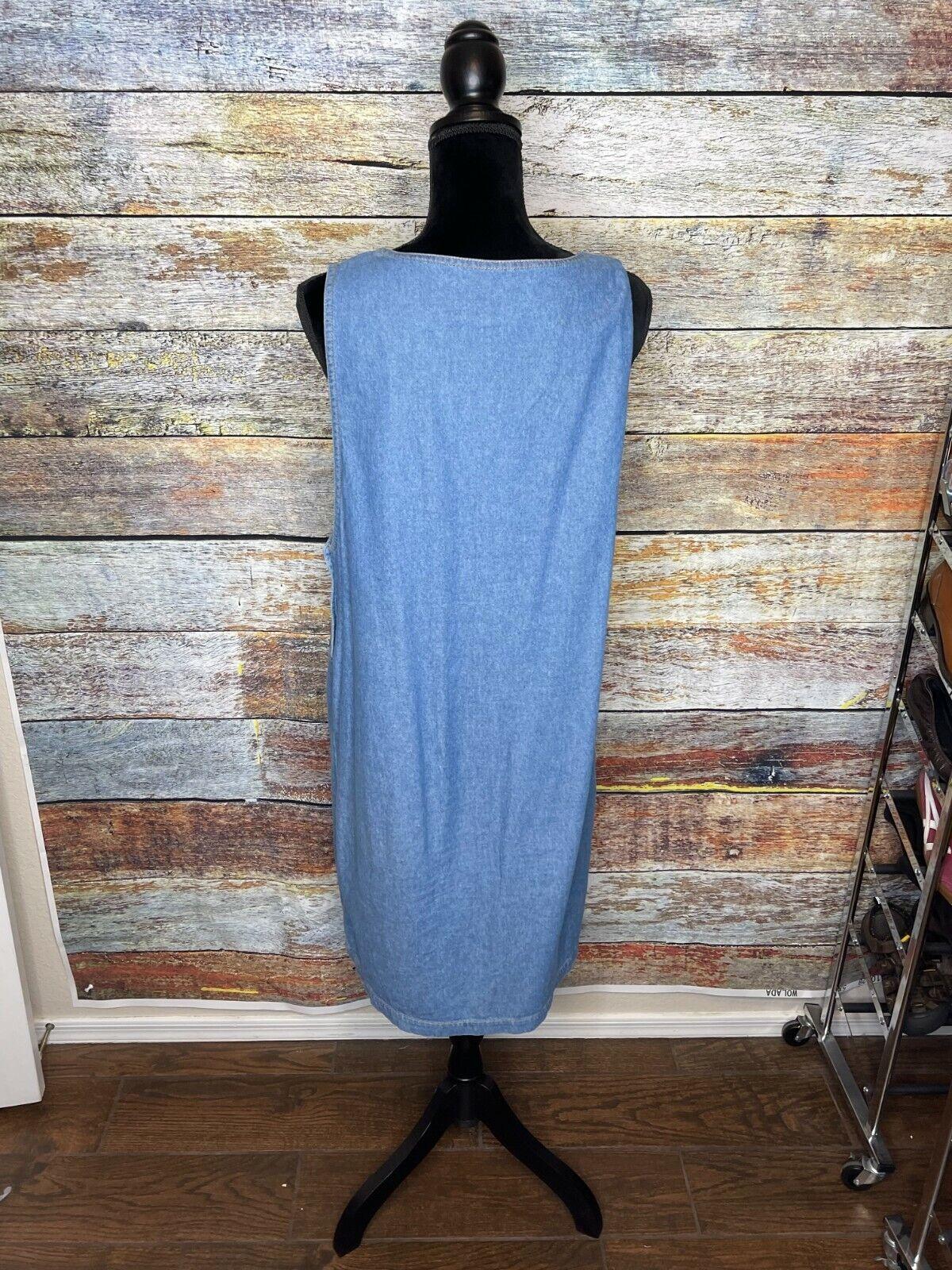 Vtg D.P.S. New york Denim jean jumper apron pinaf… - image 5