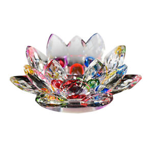 Crystal-Lotus-Flower-Candle-Glass-Tealight-Clear-Tabletop-FengShui-Decor-Holder