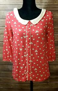 EUC-Women-039-s-Disney-LC-Lauren-Conrad-Collection-Minnie-Shirt-White-Coral-XS-2025