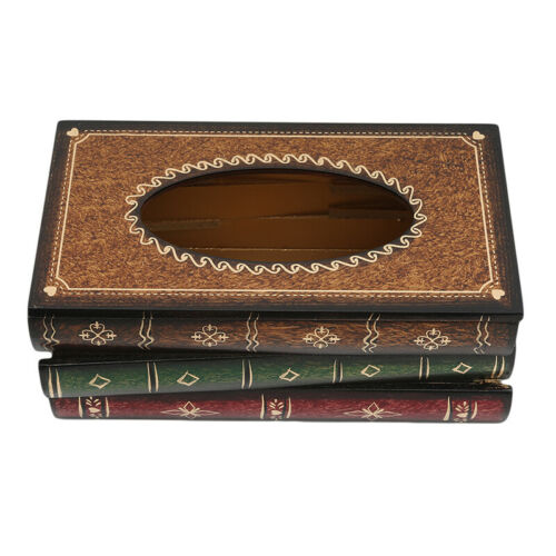 Wooden Tissue Box Cover Holder Book Shaped Creative Paper Tissue Box S