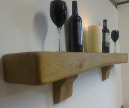 RUSTIC SOLID OAK FLOATING MANTEL MANTLE BEAM SHELF FIRE SURROUND WITH CORBELS
