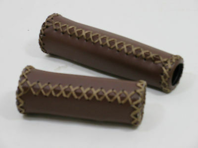 VINTAGE / RETRO STYLE BICYCLE HANDLEBAR GRIPS - BROWN - HAND STITCHED