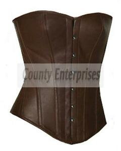 Steel Fullbust Full Corset Boned Overbust Victorian Leather Bustier Real Brown xvw7aOqw