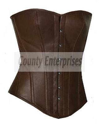 Full Steel Boned Victorian Overbust Fullbust Bustier Brown Real Leather Corset