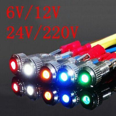 1Pc 6mm Waterproof Warning LED Metal Indicator Pilot Light 12V Signal Lamp PR.Z8