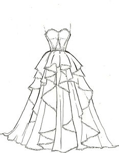 ARTISTS-ORIGINAL-FASHION-ILLUSTRATION-SKETCH-PENCIL-DRAWING-Wedding ...