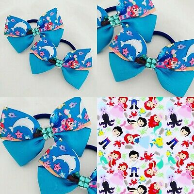GIRLS HANDMADE HAIR BOW BOBBLES IN WINNIE THE POOH /& PIGLET RIBBON SOLD IN PAIRS