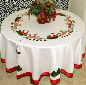 Image Is Loading Vintage Christmas Embroidered Santa Tablecloth Round  White Ivory