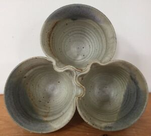 Vintage-Handcrafted-Salt-Glaze-Stoneware-Studio-Pottery-3-Bowl-Serving-Dishes